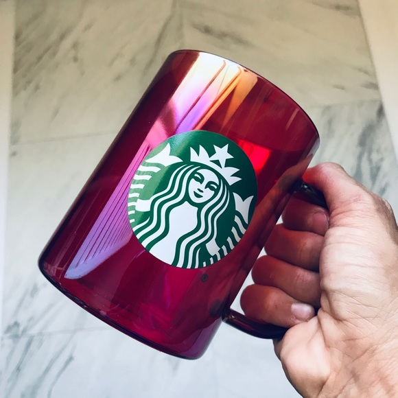 2019 Starbucks Red Iridescent Christmas Edition Mug Glass 14oz